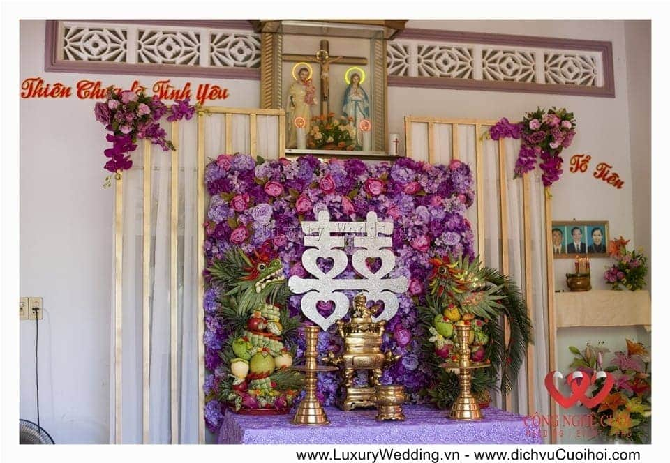 Trang trí đám cưới tại nhà với tông màu tím