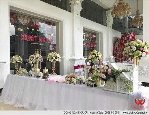 Trang trí ban gallery nhà hàng, dịch vụ cưới hỏi trọn gói Công Nghệ Cưới