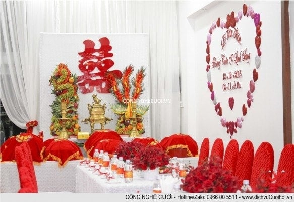 Dịch vụ cưới hỏi, Trang trí gia tiên, trang trí nhà đám cưới