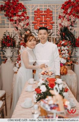 Cô dâu và chú rể hạnh phúc trong ngày đính hôn