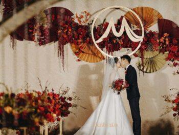 Tiệc cưới trang trí tông cam