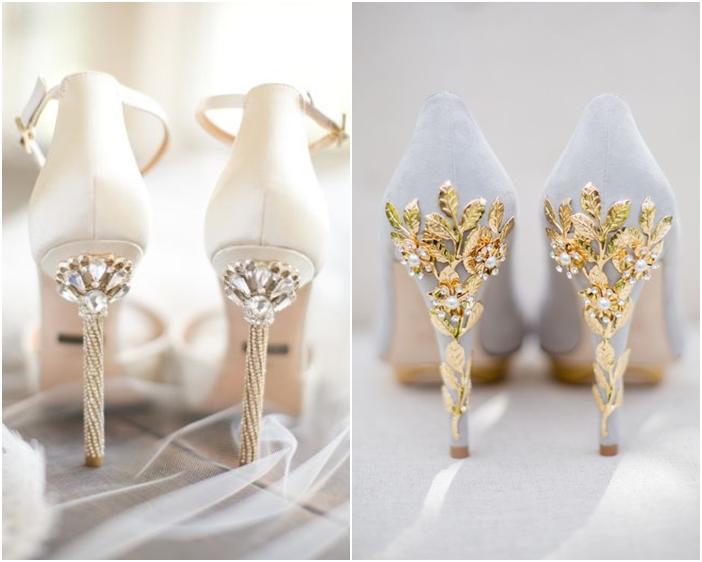 Những đôi giày cưới đính đá gót giày tuyệt đẹp