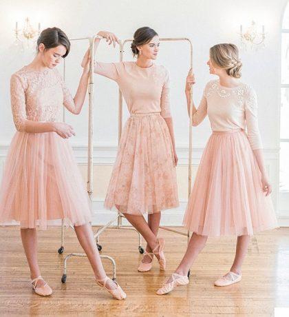 Đầm phụ dâu màu hồng ngọt ngào phong cách ba lê độc đáo