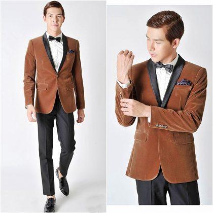Vest cưới đẹp màu nâu chất liệu nhung quý phái và cổ điển