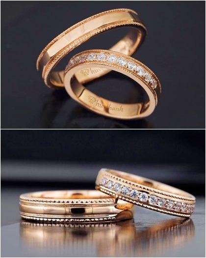 Nhẫn cưới đẹp vàng Tây chạm khắc nổi, đính đá trắng tinh tế