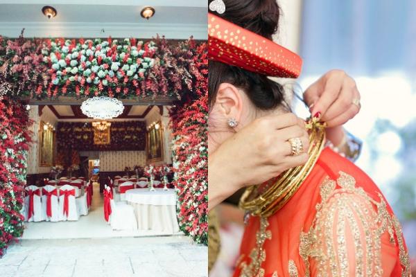 [Caption]Trong ngày thứ hai của đám cưới, Thu Thủy và Đức Thắng làm lễ gia tiên và ra mắt họ hàng tại tư gia sang trọng của chú rể tại TP HCM.