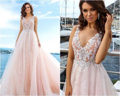 Váy cưới đẹp chất ren phối voan tông hồng pastel ngọt ngào