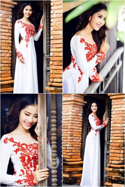 Áo dài cưới đẹp cổ thuyền thêu ren hoa đỏ nổi bật