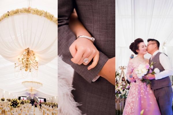 [Caption]Ngày thứ ba của tiệc cưới được tổ chức trong khuôn viên nhà cô dâu Thu Thủy tại Nam Định với tông màu trắng và xanh lá cây chủ đạo.