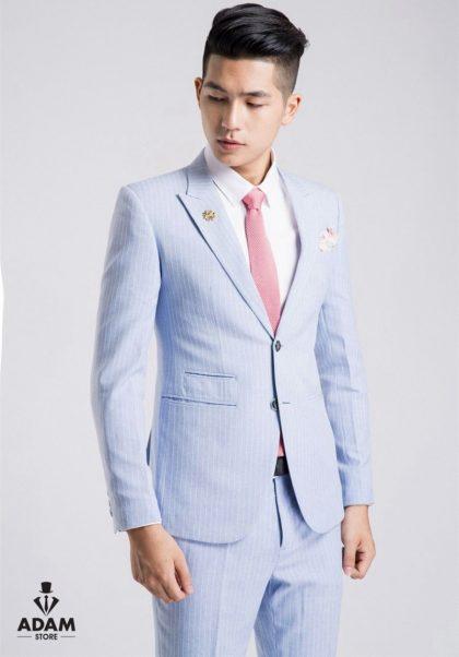 Vest cưới đẹp màu xanh pastel sọc trắng nhã nhặn