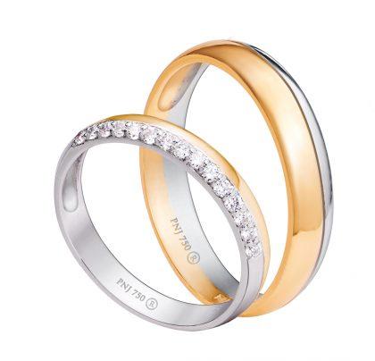 Nhẫn cưới vàng Tây kết hợp vàng trắng đính đá thanh lịch