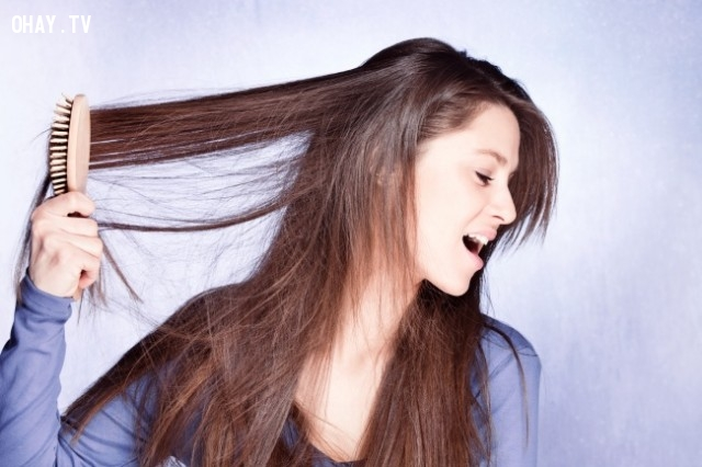 Chải tóc quá mạnh bạo gây yếu chân tóc