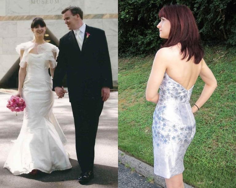 Erin cắt ngắn bộ váy cưới và vẽ tay các họa tiết hoa dọc thân váy